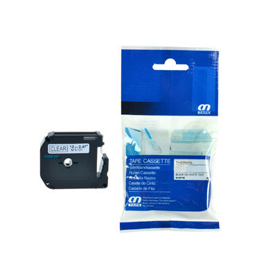 Huismerk Brother M-K121 Tape Zwart op Transparant 9mm