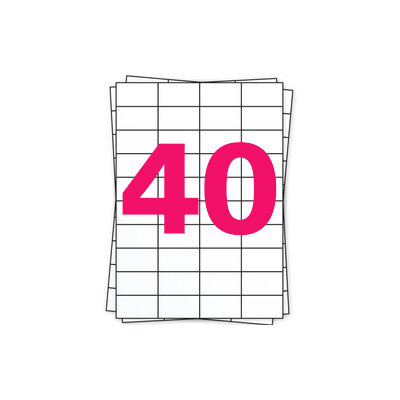 Huismerk A4 stickervellen, 40 per vel, wit, permanent, 52,5mm x 29,7mm 100 sheets