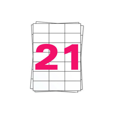 Huismerk A4 stickervellen, 21 per vel, wit, permanent, 70mm x 42,3mm 100 sheets