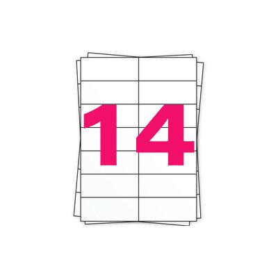 Huismerk A4 stickervellen, 14 per vel, wit, permanent, 105mm x 42,3mm 100 sheets