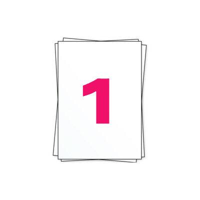 Huismerk A4 stickervellen, 1 per vel, wit, permanent, 210mm x 297mm 100 sheets