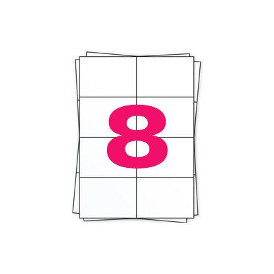 Huismerk A4 stickervellen, 8 per vel, wit, permanent, 105mm x 74mm 100 sheets