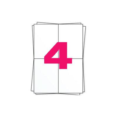 Huismerk A4 stickervellen, 4 per vel, wit, permanent, 104mm x 148mm 100 sheets