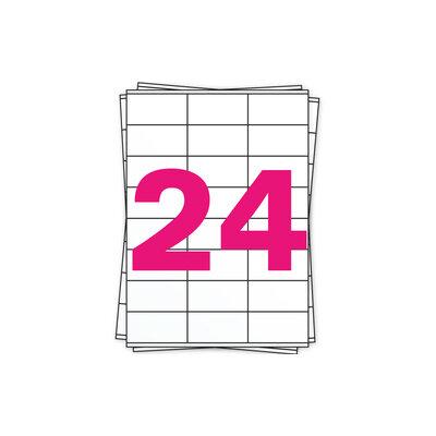 Huismerk A4 stickervellen, 24 per vel, wit, permanent, 70mm x 37mm 100 sheets