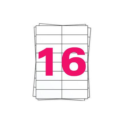 Huismerk A4 stickervellen, 16 per vel, wit, permanent, 88,9mm x 33,8mm 100 sheets